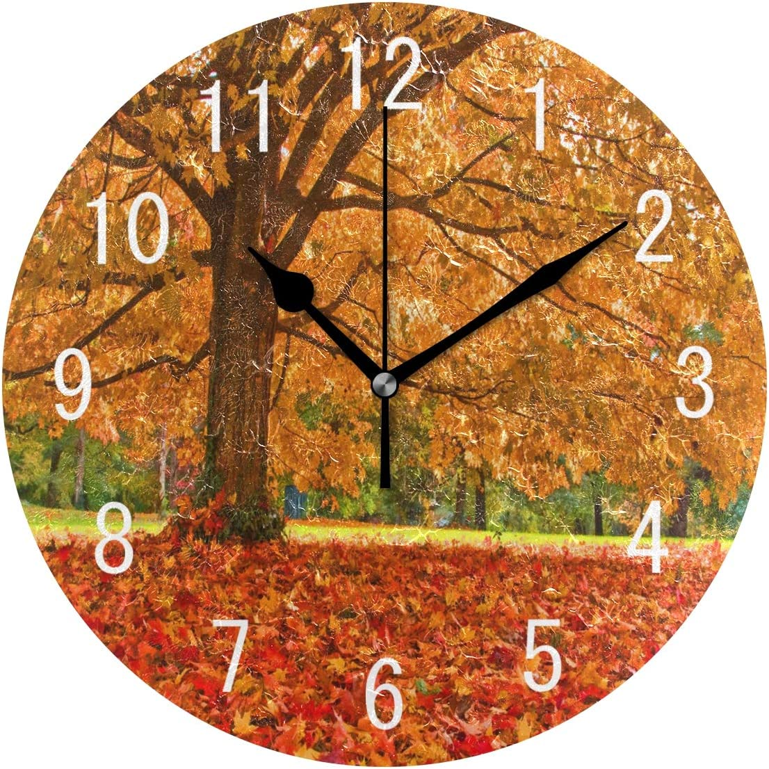 Amazon Com Alaza Home Decor Autumn Fall Leaves Tree Forest Landscape Nature Round Acrylic 9 5 Inch Wall Clock Non Ticking Silent Clock Art For Living Room Kitchen Bedroom Home Kitchen