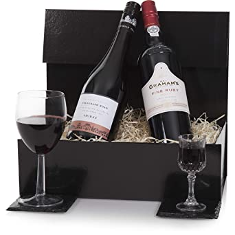 Luxury Port Red Wine Gift Hamper Presented In A Gift Box Wine Hampers