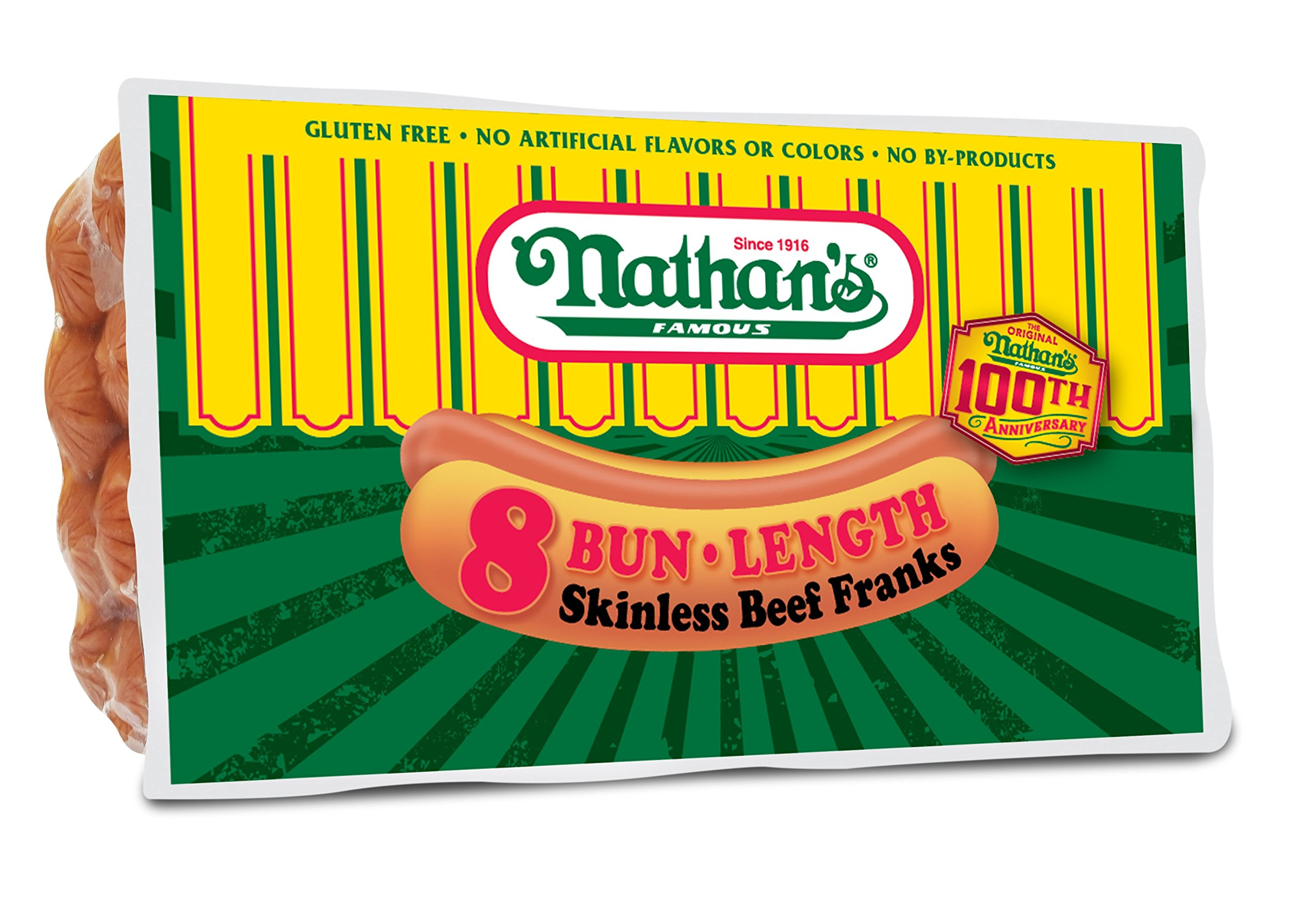 Nathan's Famous Original All Beef Franks, 8 Hotdogs Per Package, 3 Pack Bundle