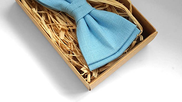 df45ae168ce6 Amazon.com: Light Blue bow tie and pocket square for weddings | Eco  Friendly Linen bow tie gift for groomsmen - toddler bow ties: Handmade