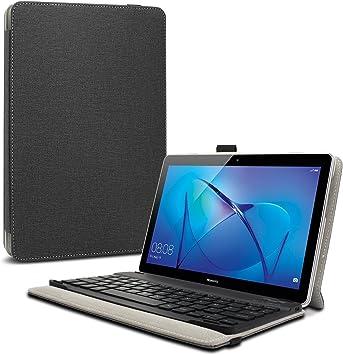 INFILAND Teclado Funda Compatible for Huawei Mediapad T3 10, Ultra Fino Slim Case con Magnético Desmontable Teclado Bluetooth Inalámbrico para Huawei ...