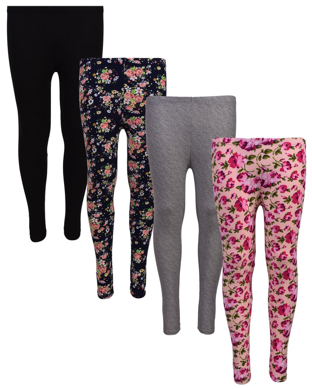'Delias 4 Pack Girl's Basic Active Leggings, 2T, Navy Flower/Pink Flower' by dELiA*s