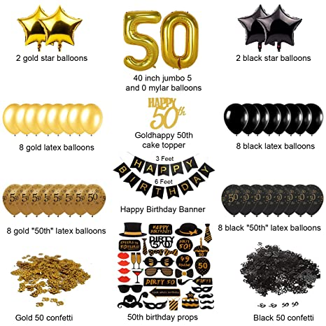 Paquete completo de decoraciones de 50 cumpleaños doradas y ...