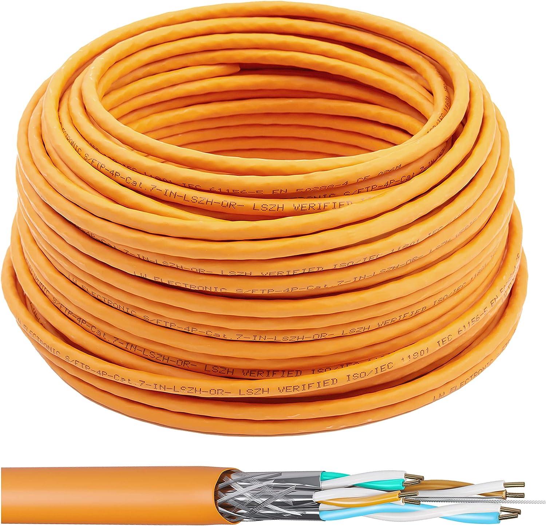 LW Electronic Cable de red Cat7 Gigabit sin halógenos POE BauPVO blindaje de red S/FTP PIMF 1000 MHz Cat7 2 x 4 pares LSZH cableado LAN, cable de ...