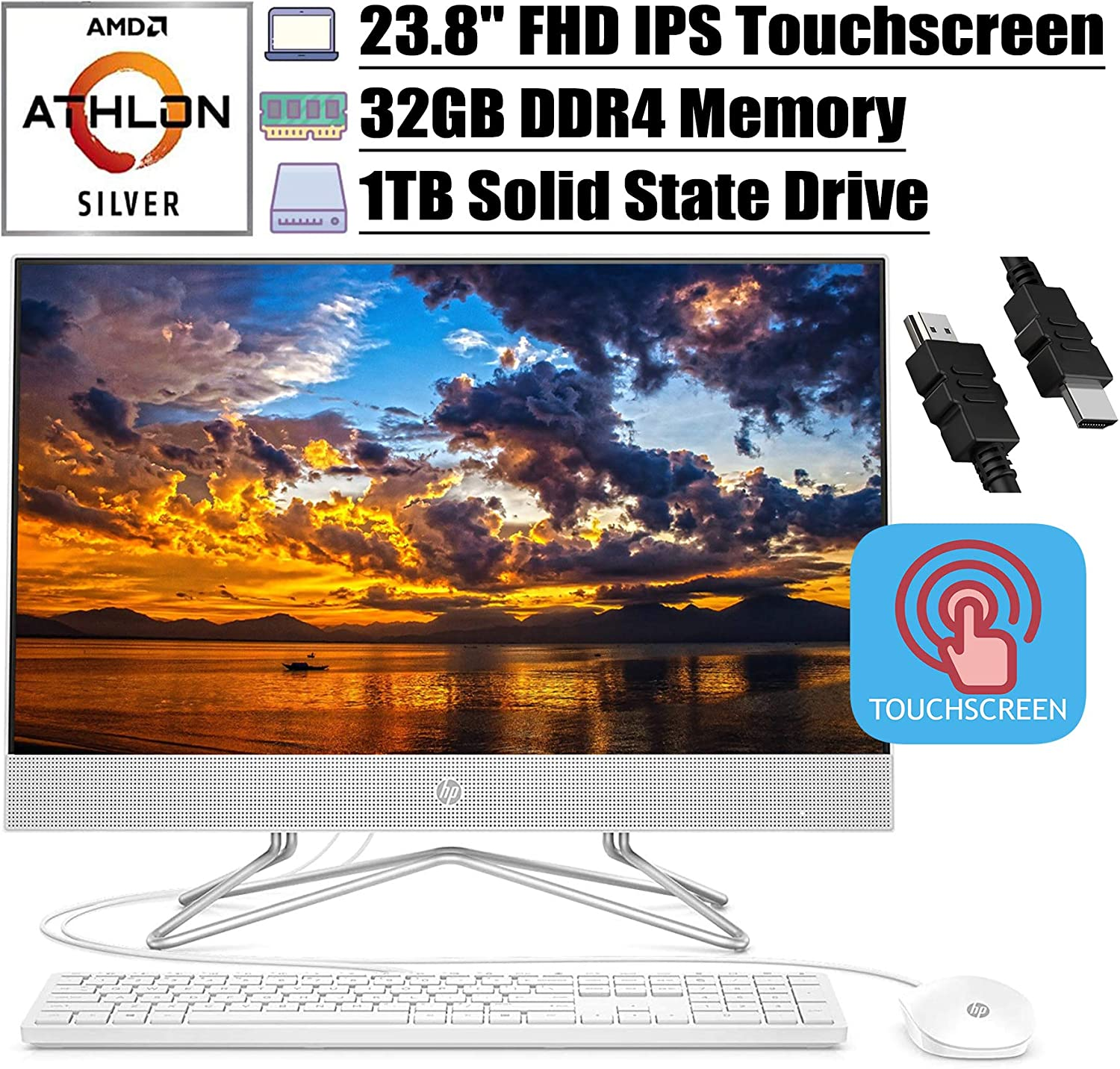 """2020 Flagship HP 24 All in One Desktop Computer 23.8""""FHD IPS Touchscreen Display AMD Athlon Silver 3050U (Beats i5-7200U) 32GB DDR4 1TB SSD DVD Webcam WiFi Keyboard Mouse Win 10 + iCarp HDMI Cable"""