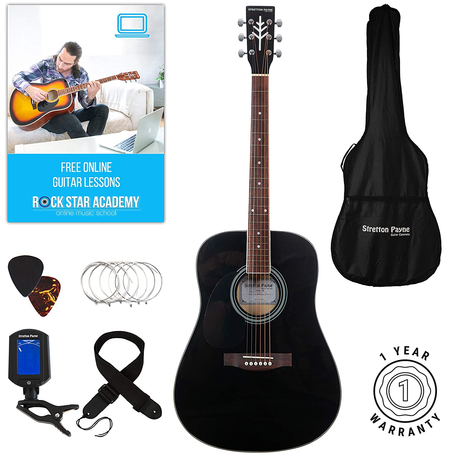 Stretton Payne LEFT HAND Dreadnought Full Sized Steel String Acoustic Guitar PACKAGE D1 Sunburst SPLHD1PACKSB