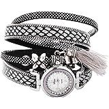Mehrunnisa Black & Silver Multiband Wrap Bracelet Analogue Watch With Tassel For Girls