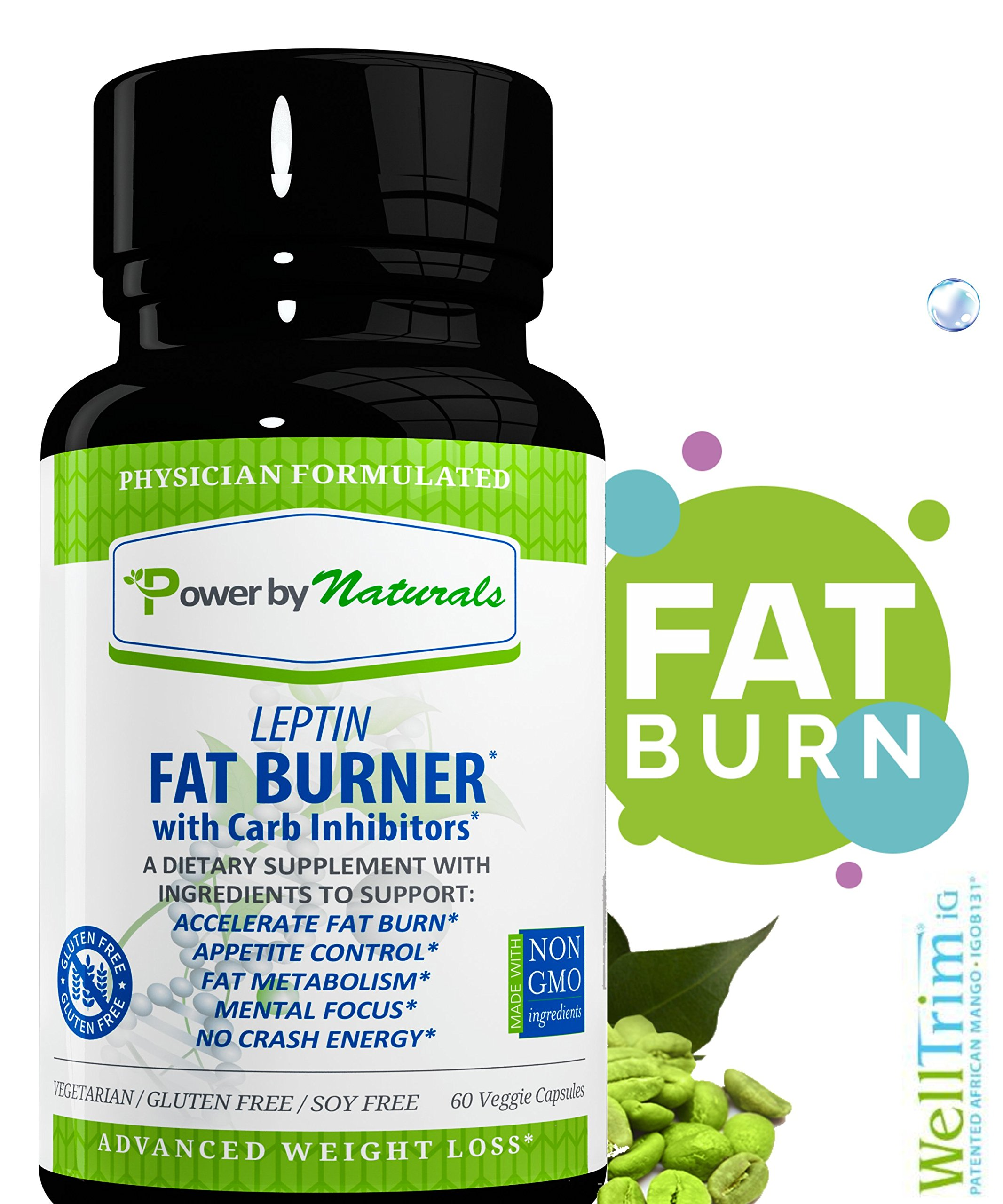 PbyN - Dr Formulated - Leptin Fat Burner with Carb Inhibitor, Metabolic Natural Weight Loss Supplement, Thermogenic Fat Burn for Men and Women, Appetite Suppressant, Carb Blocker, 60 Diet Pills by Power By Naturals