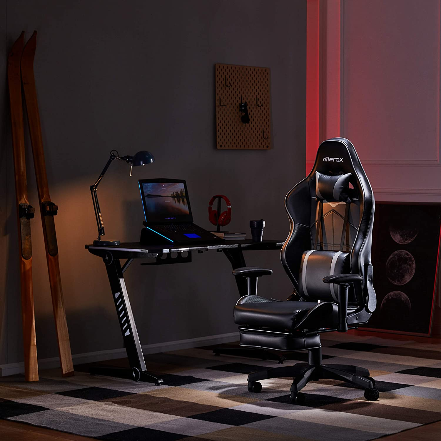 MIERES High Back Gaming Chairs of Professional Racing Style, Executive Ergonomic PU Leather with Massager Lumbar Support,Footrest and Headrest, Black