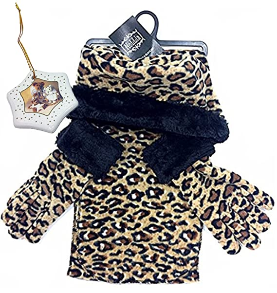 06519bf34b5 Image Unavailable. Image not available for. Color  Leopard Animal Print  Womens Fleece Winter Outerwear Gift Set - Scarf