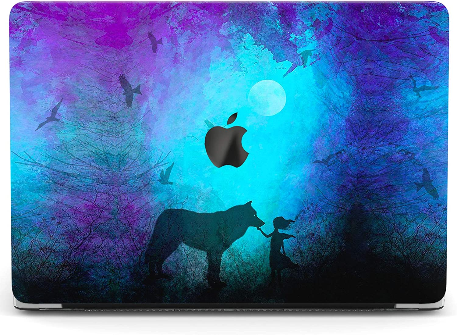 Wonder Wild Case for MacBook Air 13 inch Pro 15 2019 2018 Retina 12 11 Apple Hard Mac Protective Cover Touch Bar 2017 2016 2020 Plastic Laptop Print Girl Wolf Blue Watercolor Animal Cute Painted Art