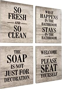 Excello Global Products Wooden Bathroom Humor Signs : Decor for Home, Restaurant, or Business - 8x10 Inches - Ready to Hang - (Pack of 4, Assortment 1)