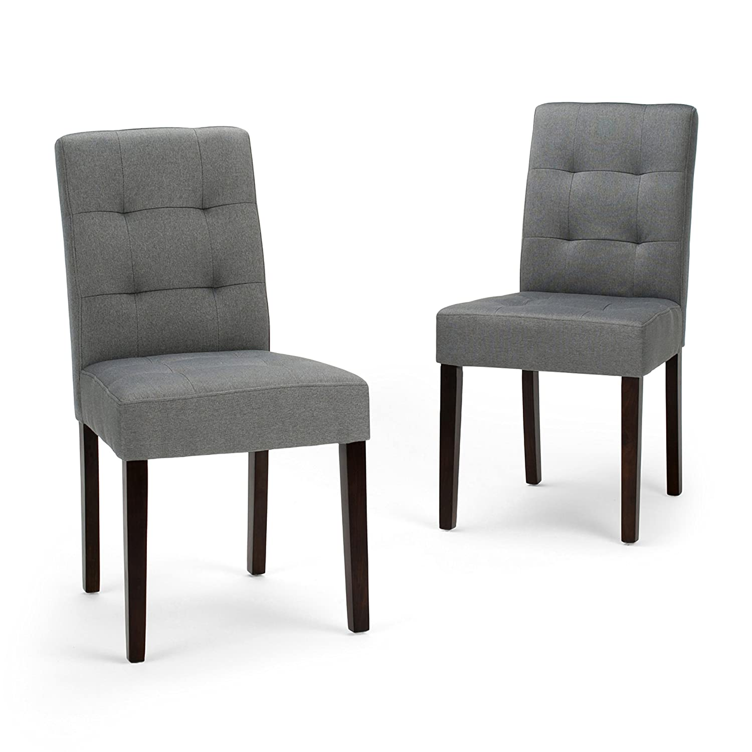 Simpli Home AXCDCHR-004-GL Andover Contemporary Dining Chair Set of 2 in Denim Grey Linen Look Fabric