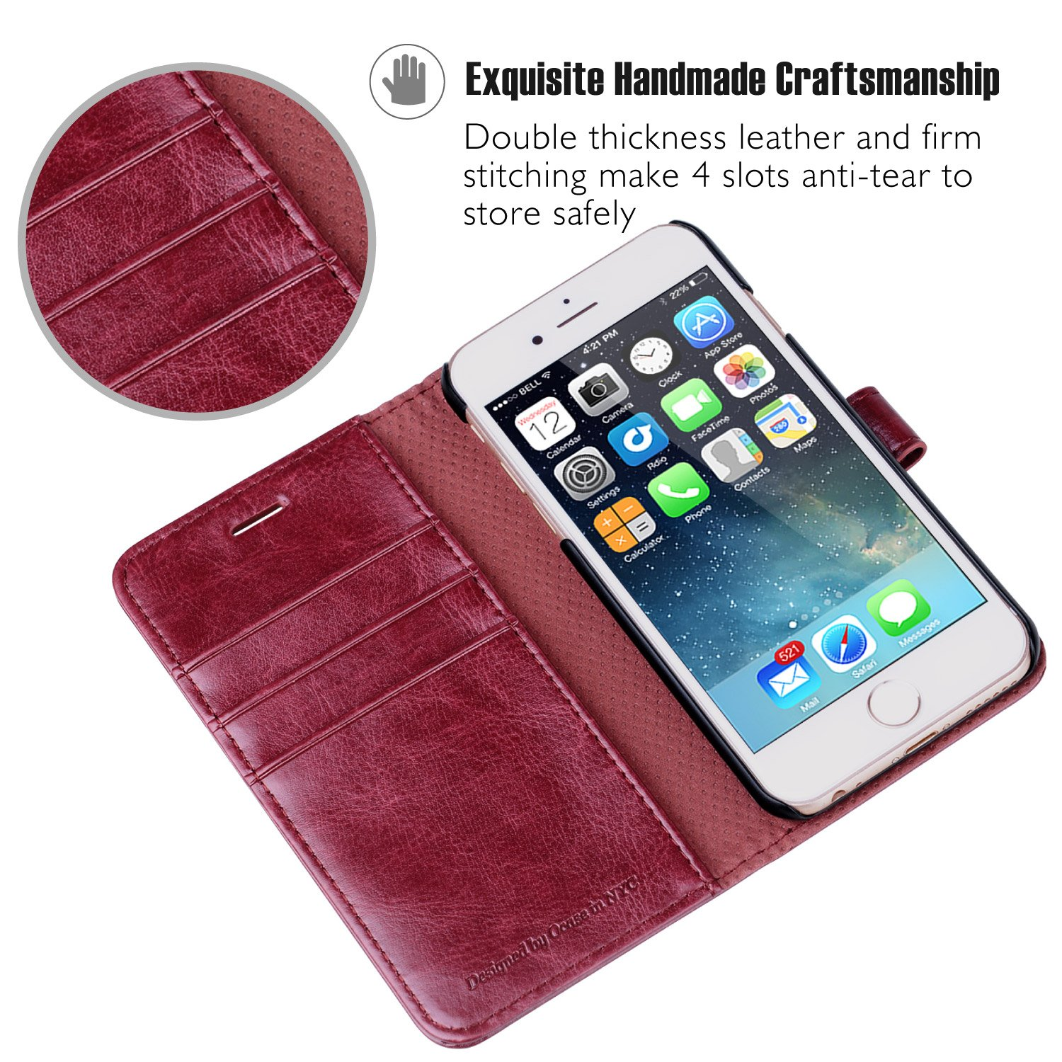 Wallet Leather Case For Apple iPhone 6//6S Devices Gray Screen Protector Included OCASE iPhone 6 Case iPhone 6S Case