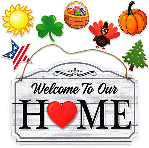 13 Pc Interchangeable Home Sentiment Sign Plaque Easter Thanksgiving Halloween