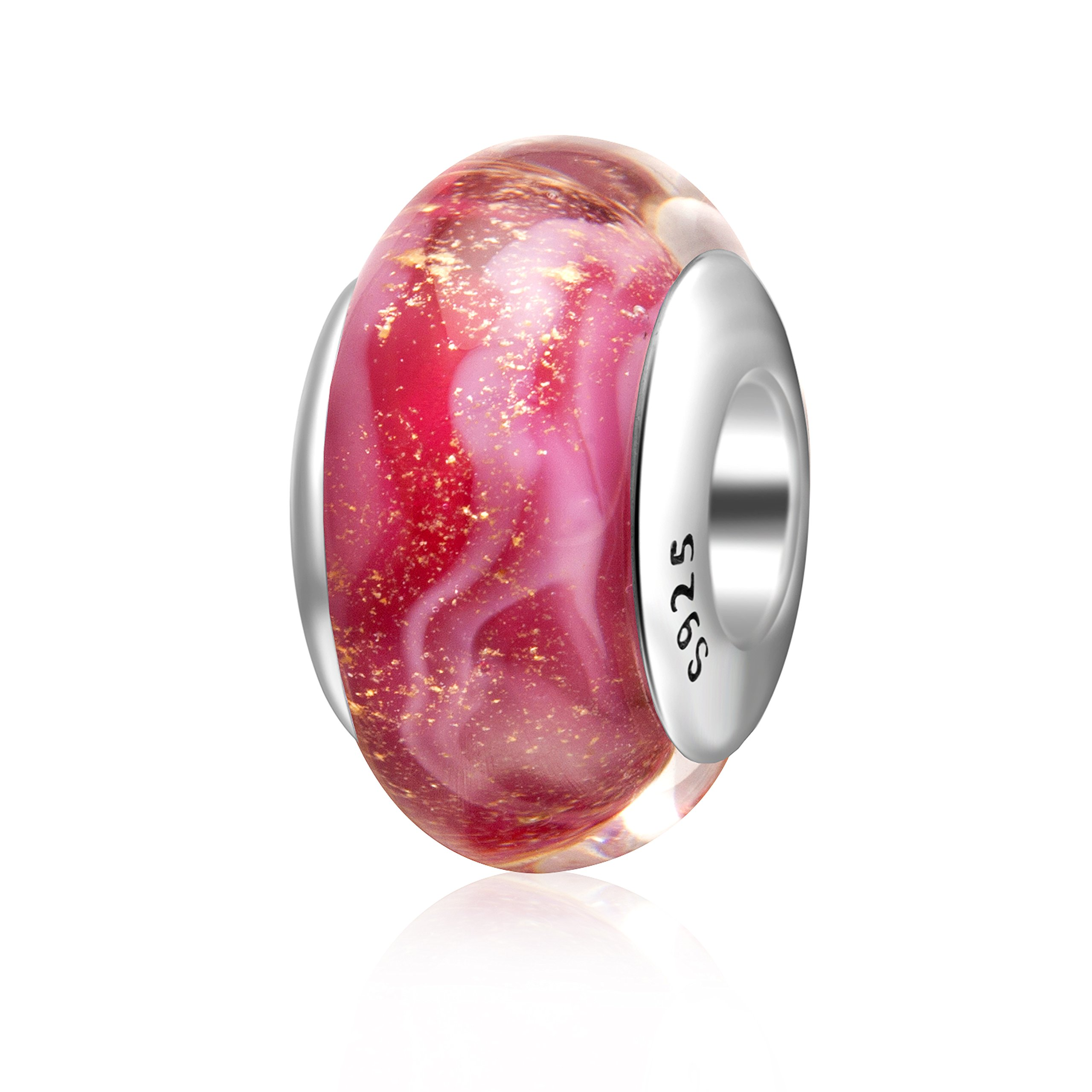 Hoobeads Starry Night Murano Glass Charms 925 Sterling Silver Core Silver Foil Glass Bead for European Bracelet (Pink)