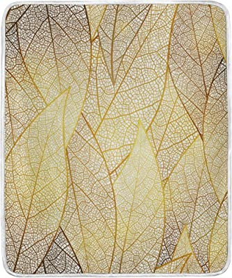 U LIFE Elegant Gold Leaves Texture Soft Fleece Throw Blanket Blankets for Nap Couch Bed Kids Adults 50 x 60 inch