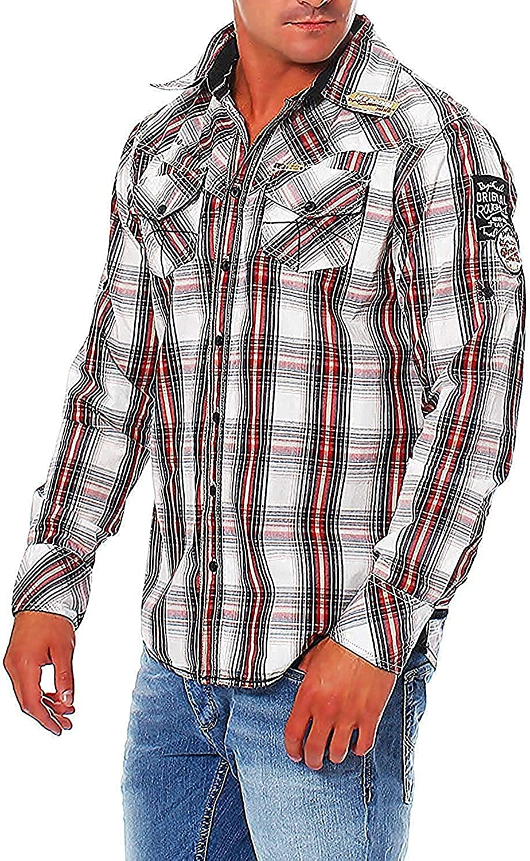 M.O.D Hombre Camisa de manga larga Camisa Camisa a cuadros MS623 - red-white-black chek, M, rojo-blanco-negro chek: Amazon.es: Ropa y accesorios