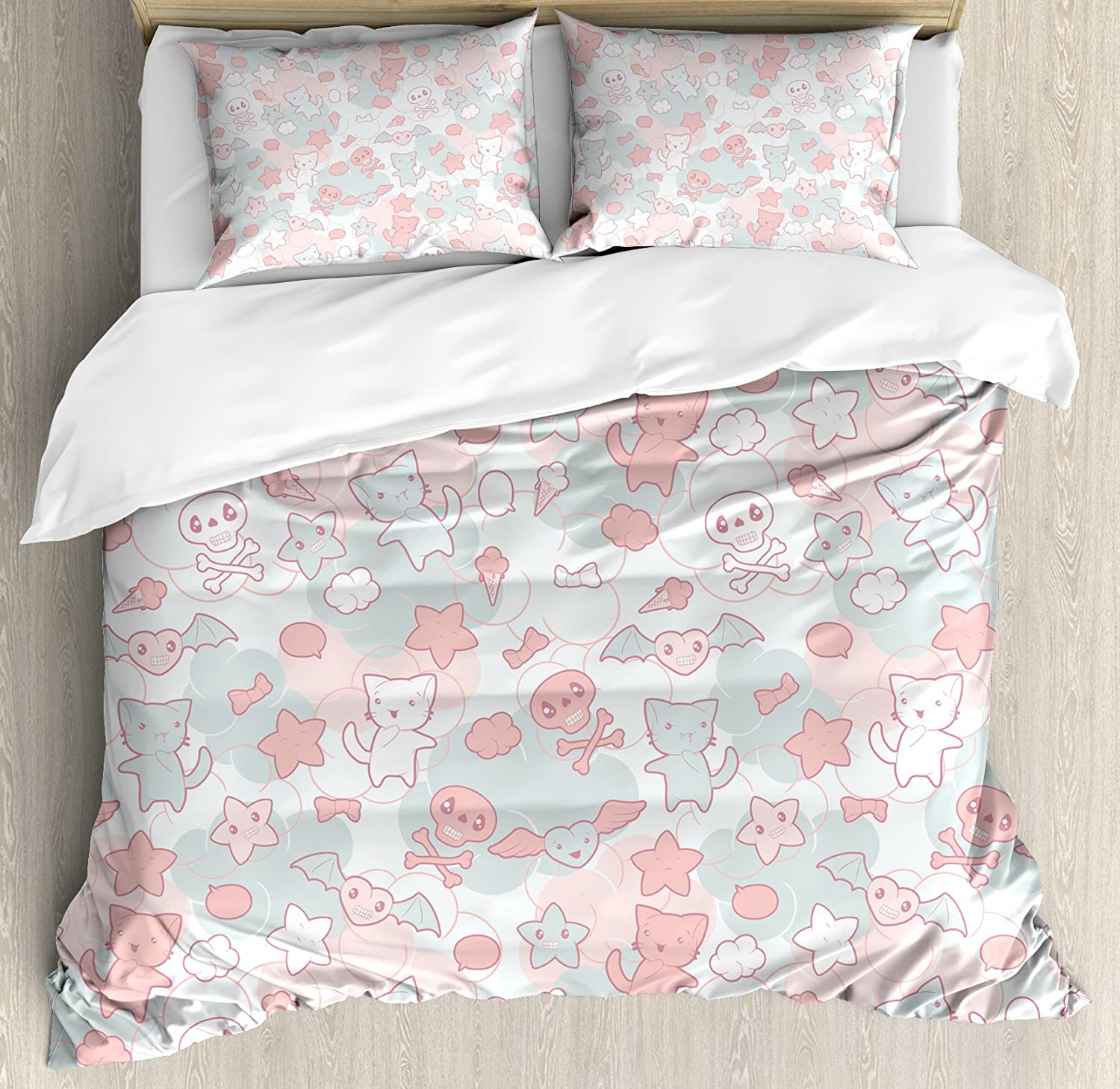 Ambesonne Doodle Duvet Cover Set, Cartoon Styled Cats Bats and Skulls Japanese Inspired Kawaii Design, Decorative 3 Piece Bedding Set with 2 Pillow Shams, King Size, Light Pink