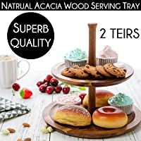 Sherwood Food Serving Stand Tray Platter - Round 2 Tier - Acacia Wood for Kitchen - Elongated Vintage Decorative Tray DIY Assembly - for Cakes Snacks Parties Weddings Fruits Desserts Cookies Cheese Home Decor Coffee Jars Mugs Cutlery (2 Tier)