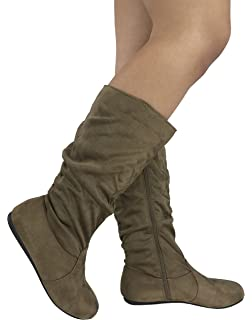 e6b9ae69a38 Wells Collection Slouchy Boots Soft Flat to Low Heel Under Knee High