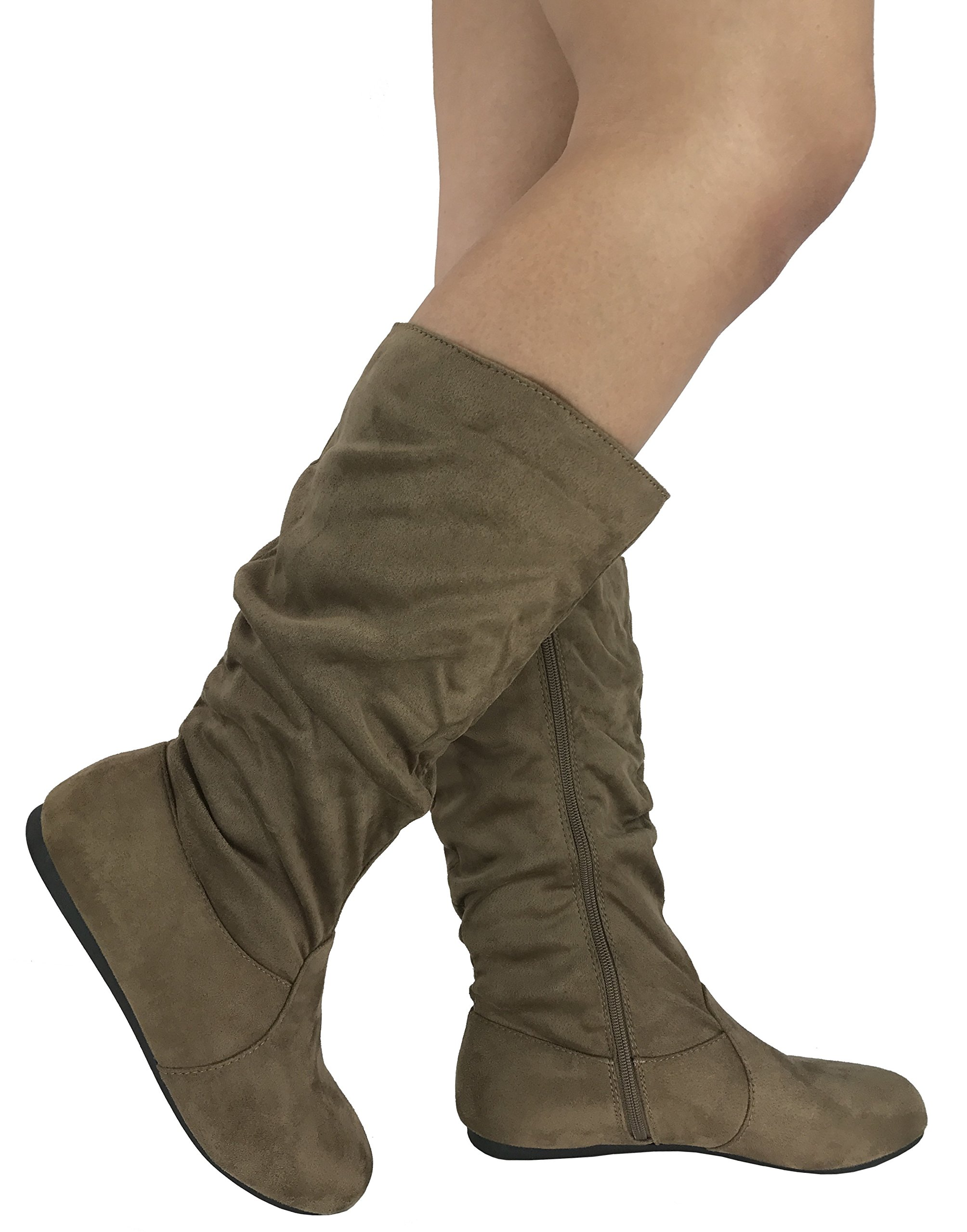 Wells Collection Womens Wonda Boots Soft Slouchy Flat to Low Heel Under Knee High, Taupe, 8.5