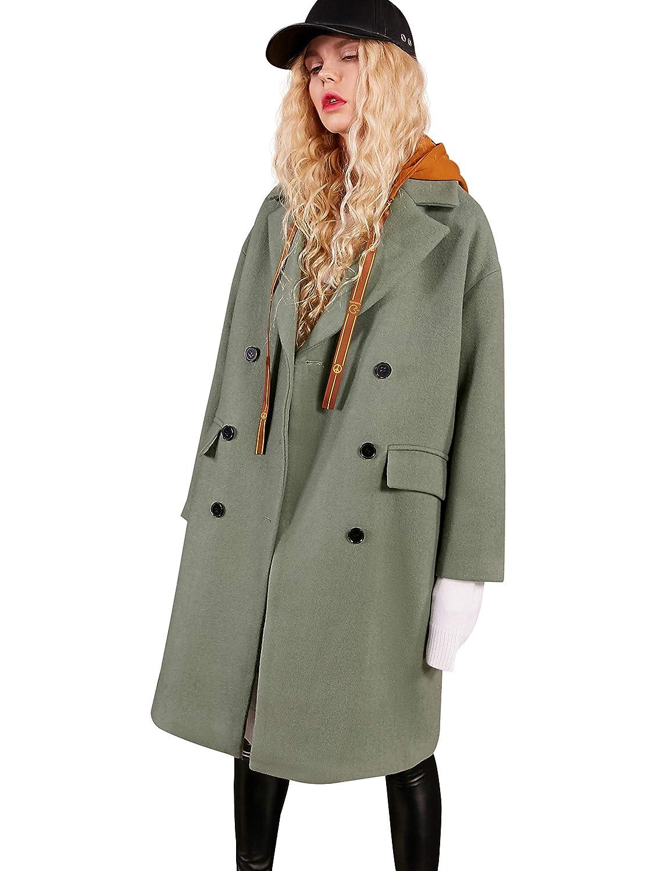 Green Elf Sack Women Double Breasted Trench Coat, Wool Blend Long Pea Coat Hood Jacket Outwear