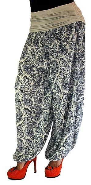 531055248a Jygles Damen LEICHTE Damen Hose Sommerhose Pumphose Strandhose im Harem mit  Blumenmuster (Beige)