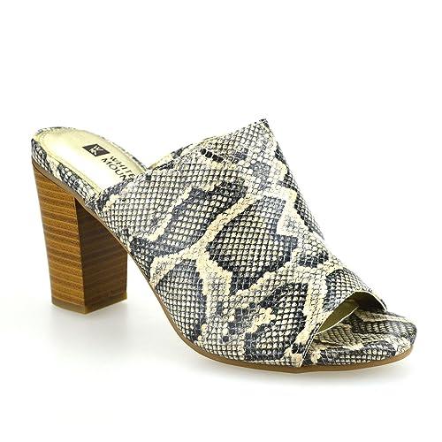 Ladies Womens New High Block Heel Slip On Mules Clogs Summer Sandals Shoes
