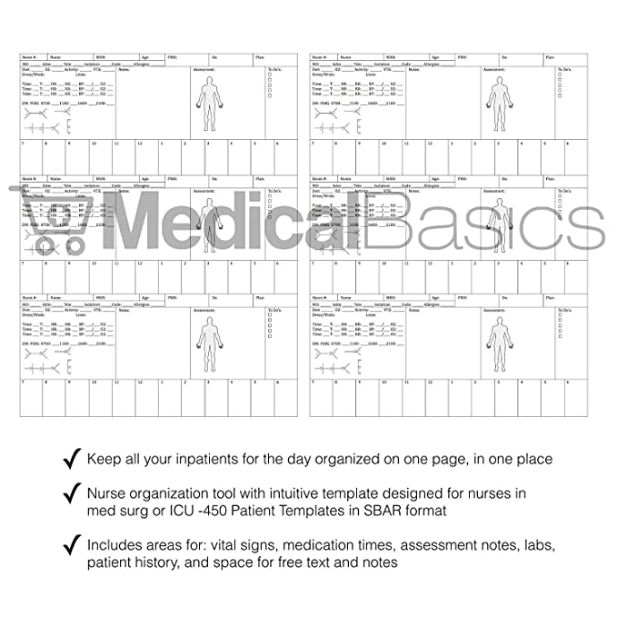 picture about Printable Nursing Report Sheets known as Nursing Intellect Sheet Various Affected person Laptop - Nurse and CNA Write-up Sheet - 3 Clients for every Template
