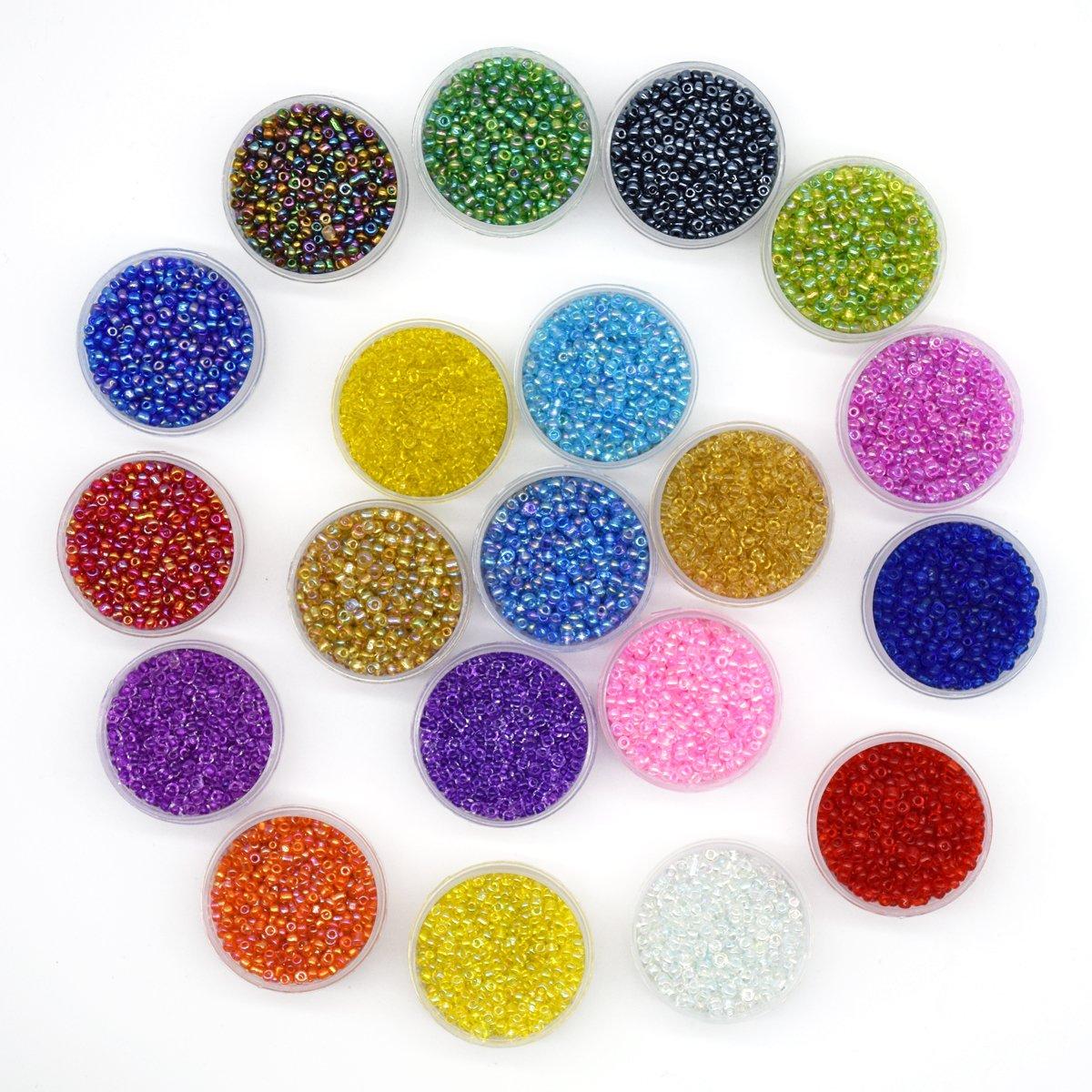 Yuekui Multicolore Perles de verre, perles, 2mm de perles en verre ronde à Propos de 16000pcs 20couleurs avec 0,6mm de diamètre 10metres de long DIY Perles Line.