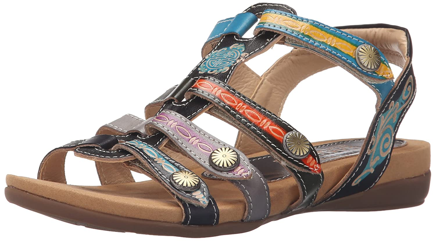 L'Artiste by Spring Step Women's Gipsy Flat Sandal B015QV47TM 40 M EU / 9 B(M) US|Black/Multi