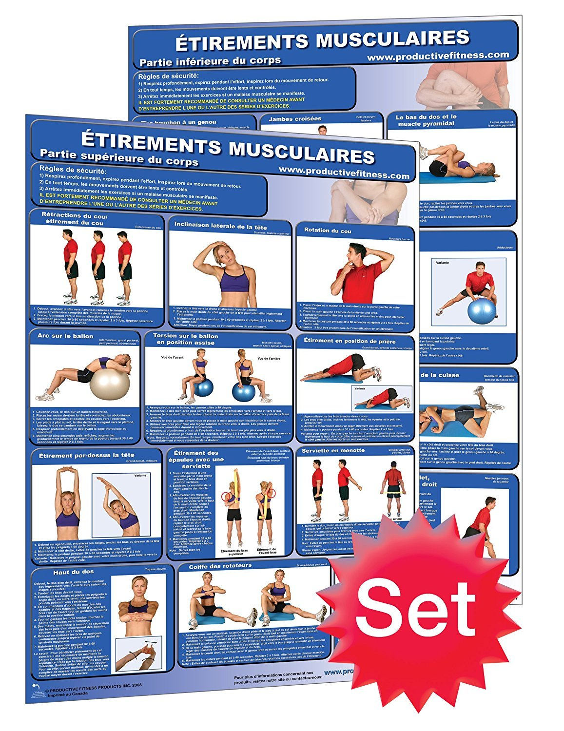 Amazon.com : Étirements Musculaires - Stretching Poster/Chart Set ...