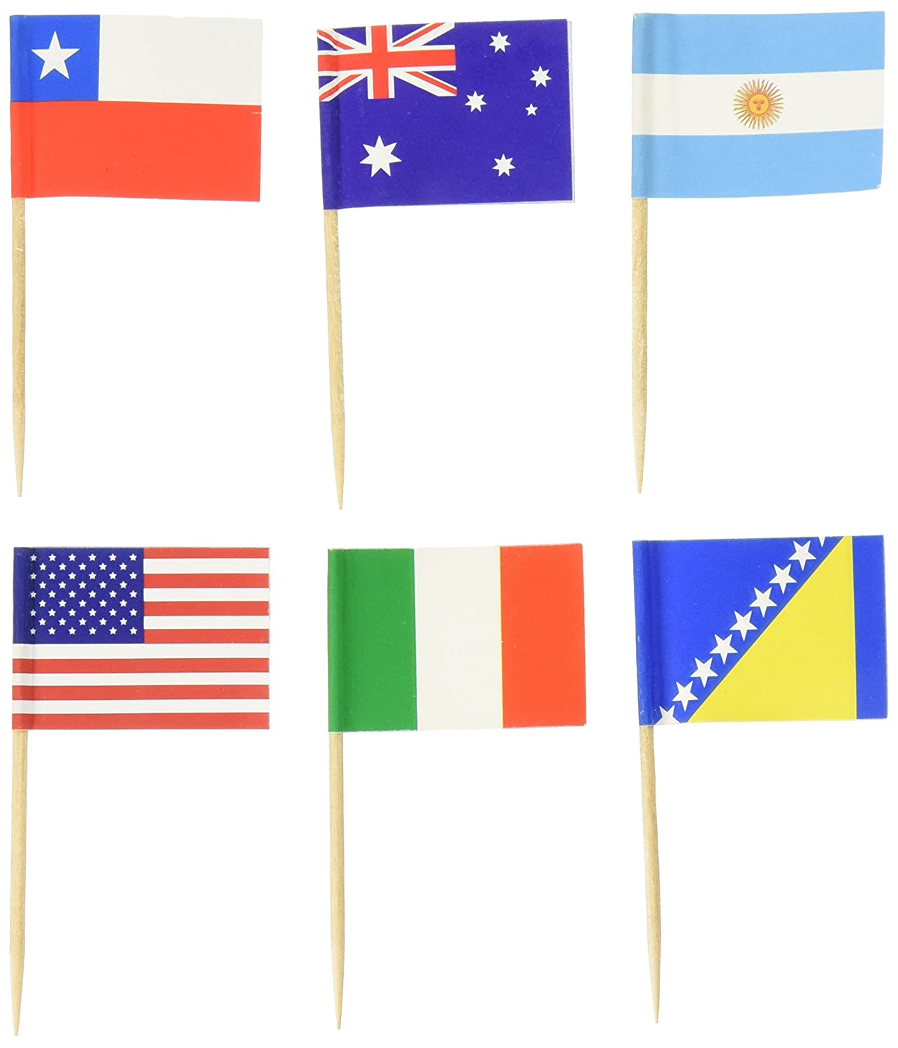 World Flag Toothpick (Box of 100 Toothpicks) Country Flags - International and Ethnic Events - Food Picks for Parties, Cocktails - Wood Toothpick and Paper Flag - World Cup, Olympic Games Amazing Things B01ENXO3HA