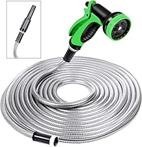 SPECILITE Heavy Duty 304 Stainless Steel Garden Hose 50ft, Outdoor Metal Water Hoses with Nozzle & 10 Pattern Spray Nozzle for Never Kink & Tangle, Puncture Resistant, Flexible, Portable