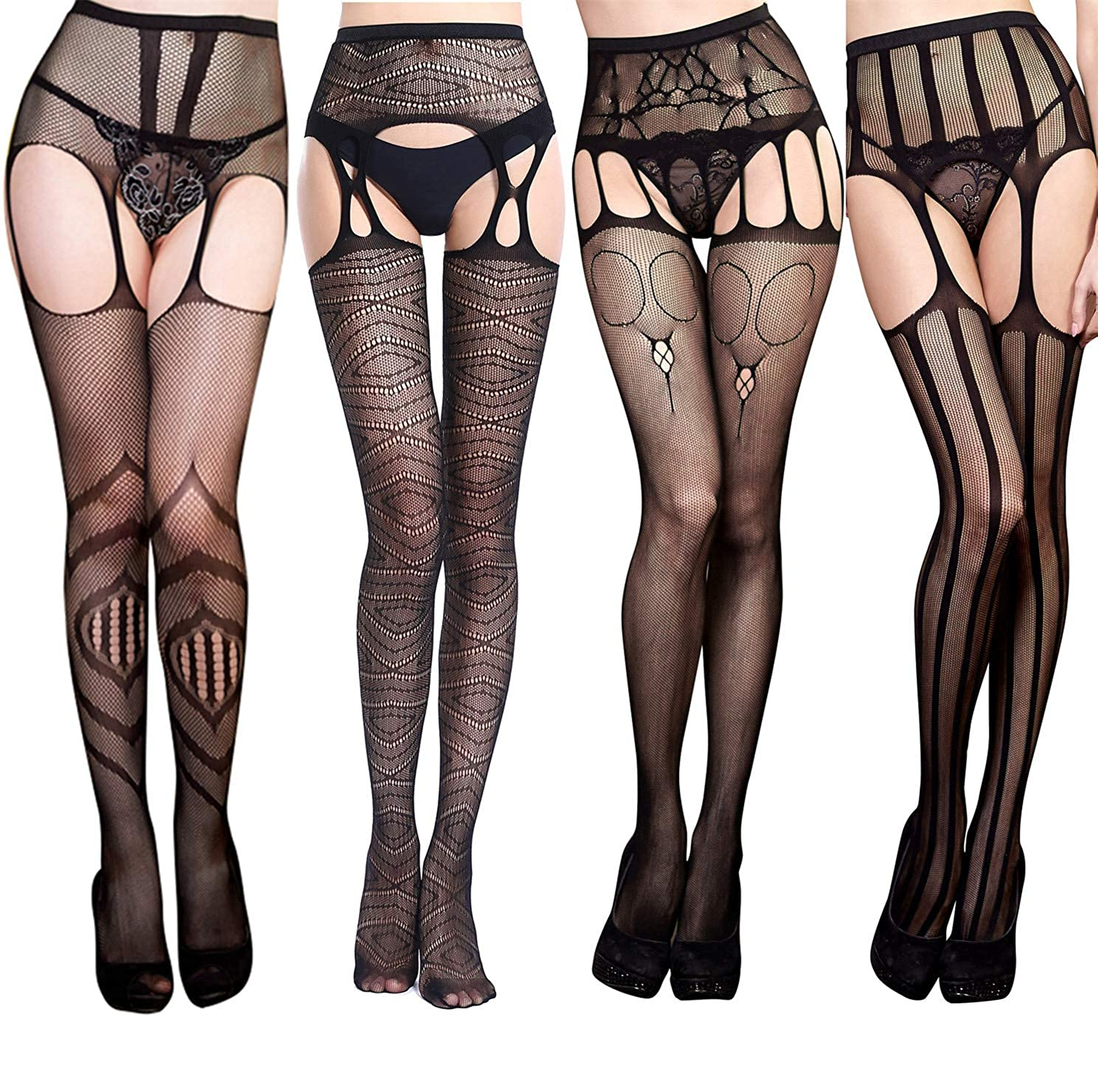 f91201b21a399f Top3: TGD Womens Black Thigh High Stockings Sexy Fishnet Lace Tights  Suspender Pantyhose Stretchy 4 Pairs