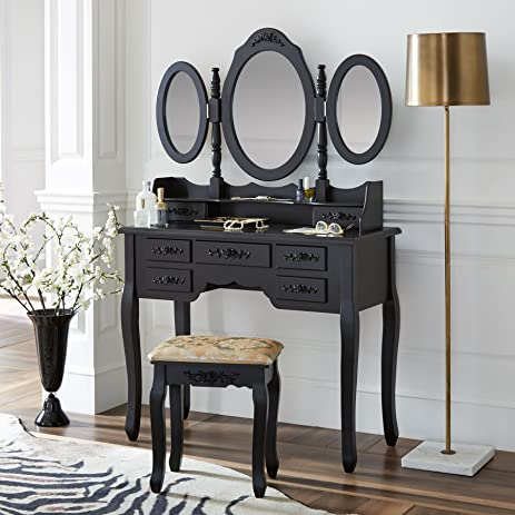 fineboard vanity set with stool makeup table with seven drawers 3 oval mirrors black