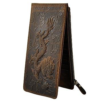 Leaokuu cartera de cuero con cremallera para Tarjeta del talonario de cheques bolsillo para