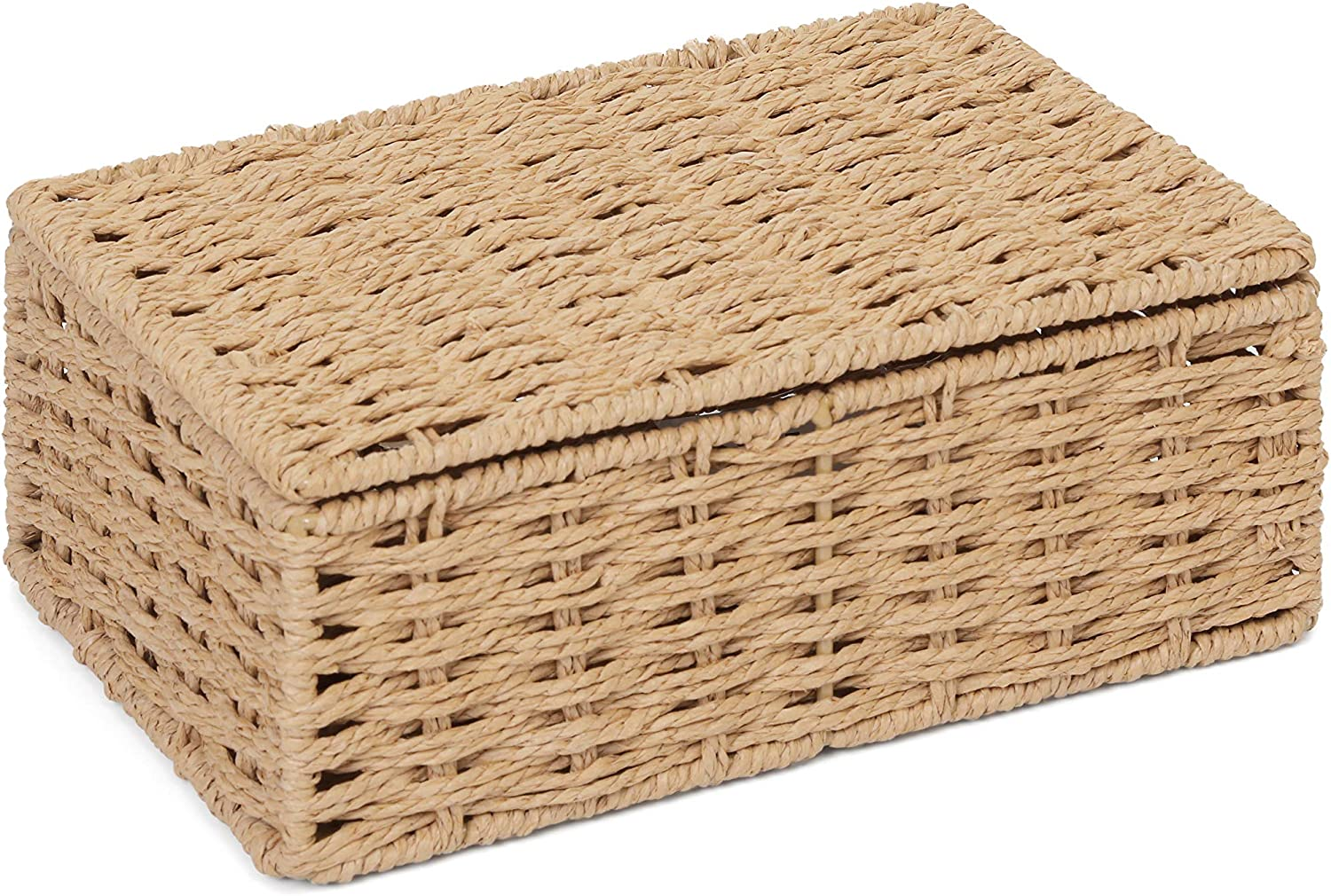 ARPAN 2 x Paper Rope Storage Hamper Basket With Lid - Ideal For Home/Office & Gifts Hamper (Natural - Small)