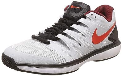 fb7bb1ace7a Nike Men s Air Zoom Prestige Hc Platinum Red Black White Tennis Shoes-