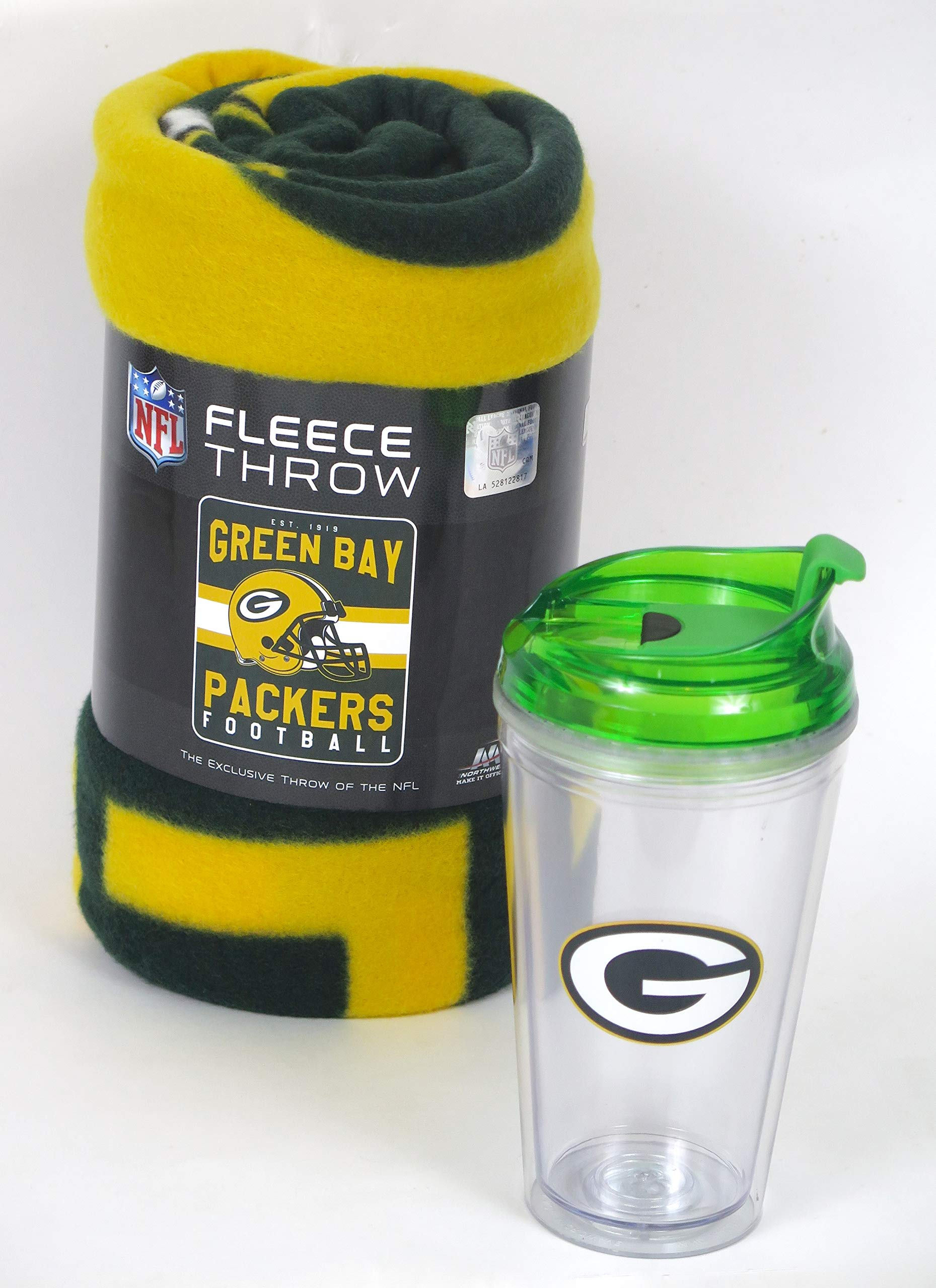 Green Bay Packers blanket and tumbler sip in snob set. this soft fleece throw blanket will keep you warm at the game or ar homeu