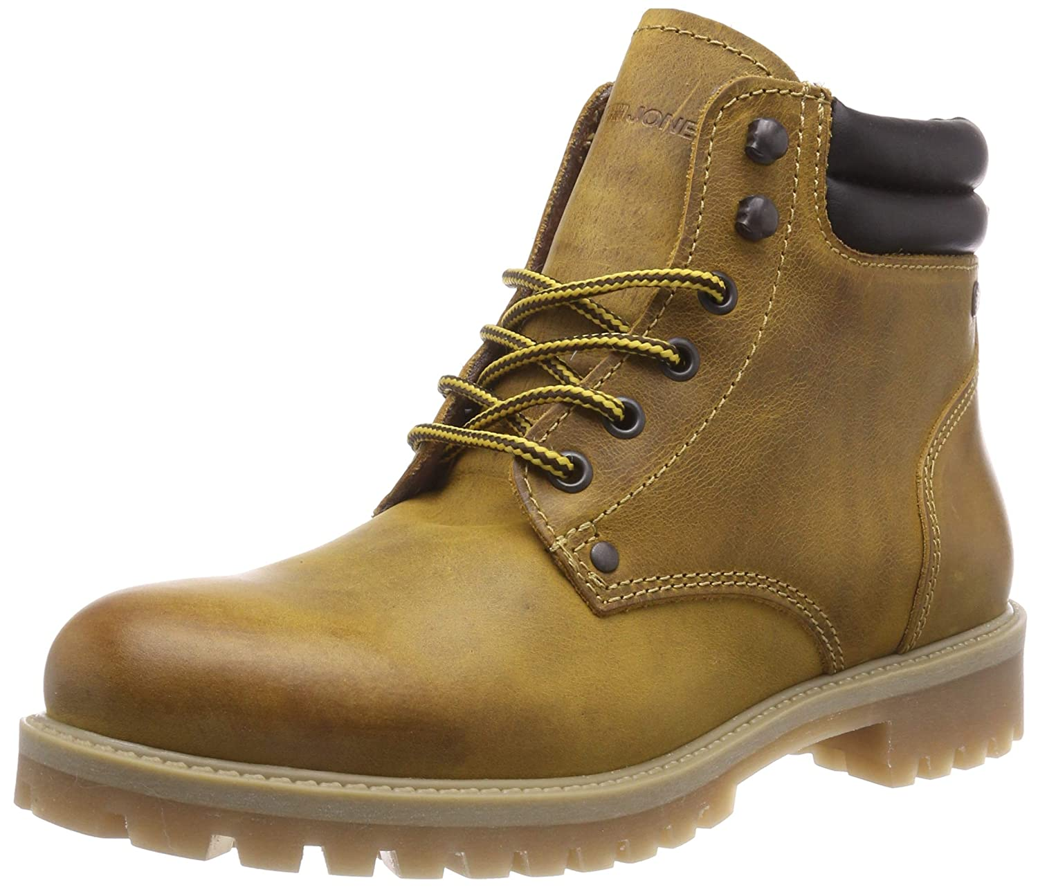 TALLA 45 EU. Jack & Jones Jfwstoke Leather Boot Honey, Botas Estilo Motero para Hombre