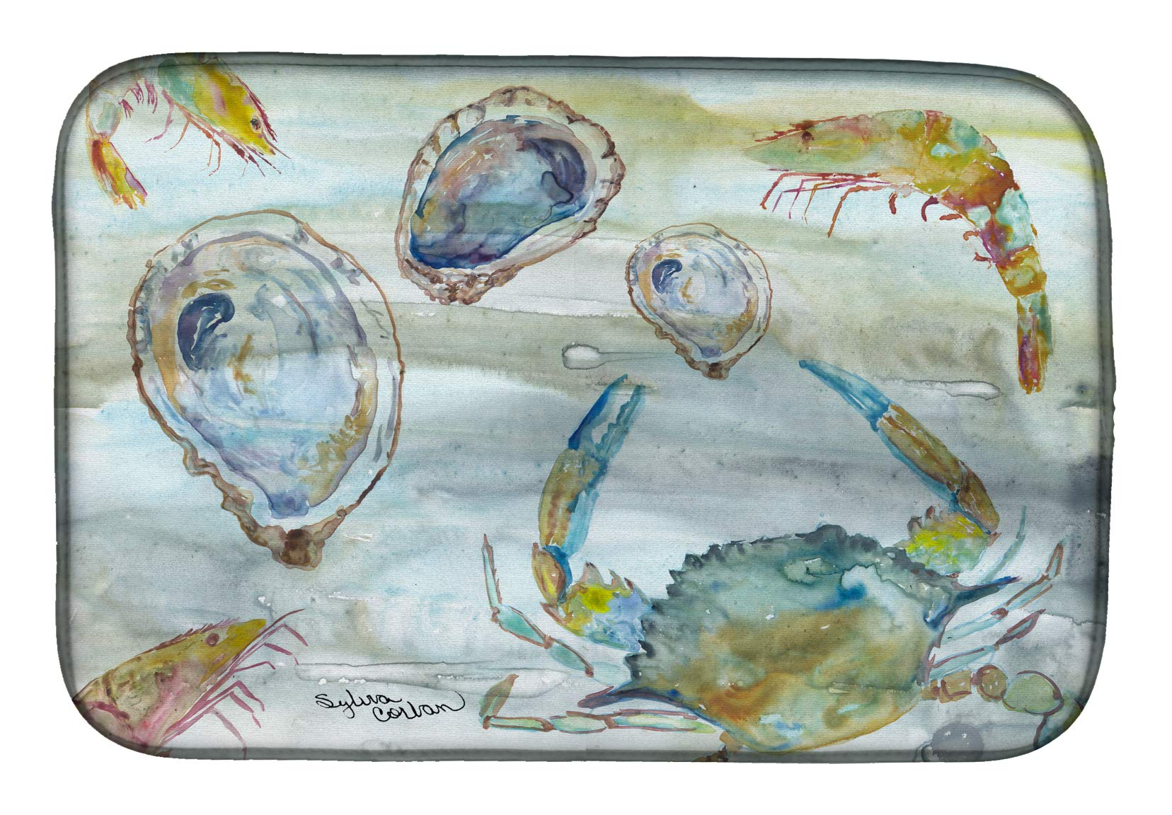 Caroline's Treasures SC2010DDM Crab, Shrimp and Oyster Watercolor dish-drying-mats, 14x21'', Multicolor by Caroline's Treasures