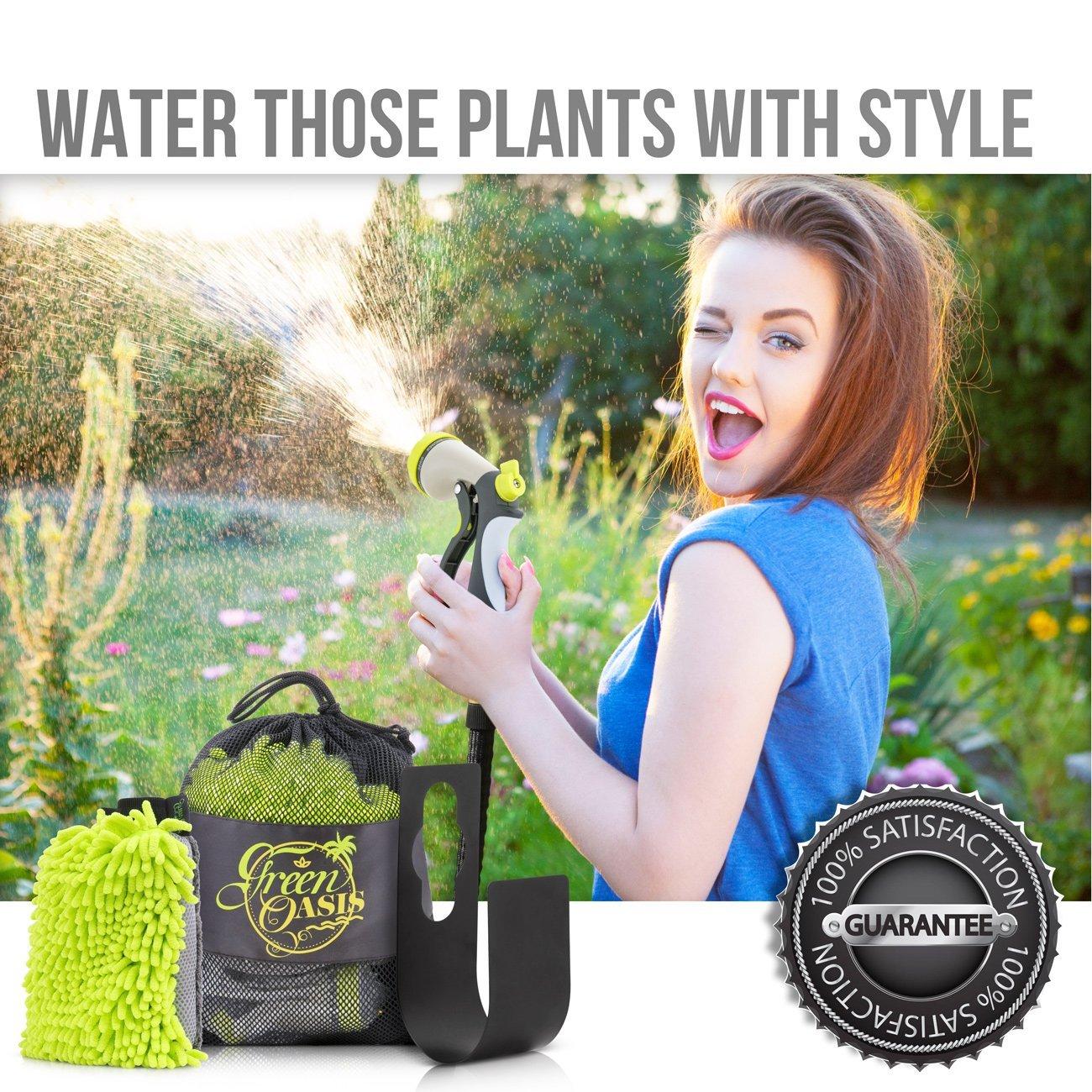50ft Expandable Garden Hose Made of Triple Natural Latex Set + Free Bonuses