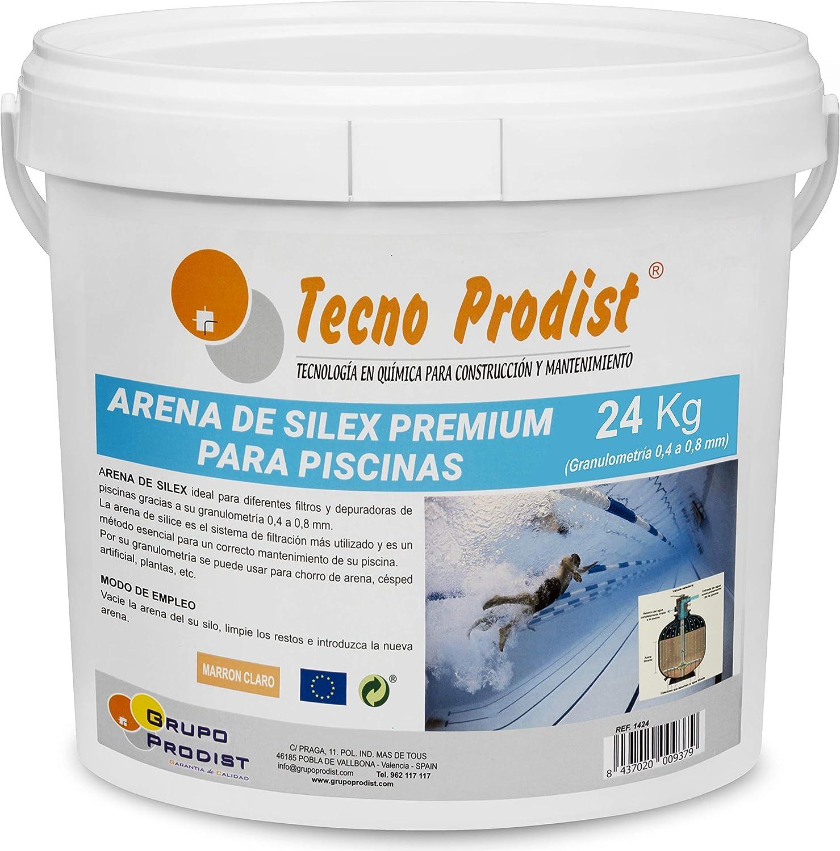 Tecno Prodist Arena de Silex Arena Premium para Piscinas - En Cubo de 24 Kg (Granulometría 0,4 a 0,8 mm) Ideal para el Filtro de su Piscina.