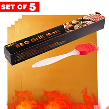 Wedna Copper Grill Mat 5 Pack BBQ Mats and a Silicone Brush - FDA Approved, PFOA Free, Reusable and Easy to Clean - Works on Gas, Charcoal, Electric Grill and more, 100% Non-stick 15.75 x 13 inches