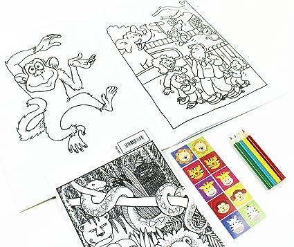 Pegatina para colorear en libro, diseño de lápiz de animales ...