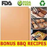HQS Copper Grill Mat Set of 2 - Non-stick BBQ Grilling & Baking Sheets- Golden Grill Mats Reusable & Easy to Clean - For Charcoal, Electric and Gas Grills, As Seen On TV + FREE BBQ/Grill Recipes