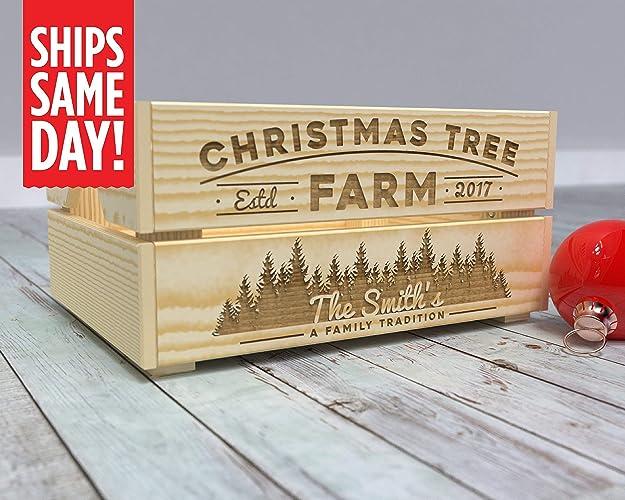 Christmas Crate Box.Amazon Com Christmas Tree Farm Crate Personalized