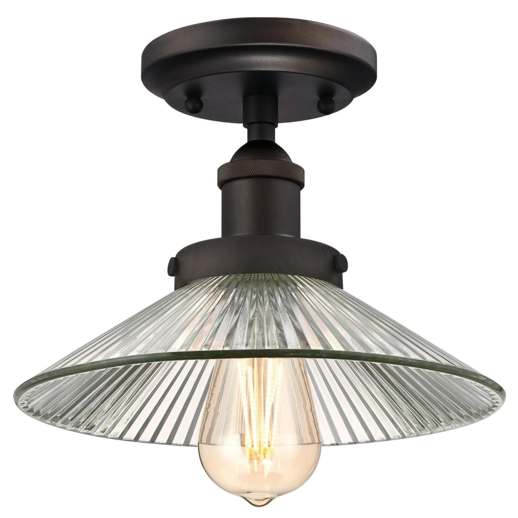 Westinghouse 6336100 Lexington One-Light Indoor Semi-Flush Ceiling Fixture, Oil Rubbed Bronze Finish with Clear Ribbed Glass